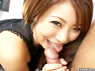 Adorable petite Asian Mimi Kousaka POV blowjob