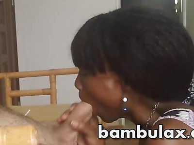 Cute African Ebony teen blowjob cum in mouth!