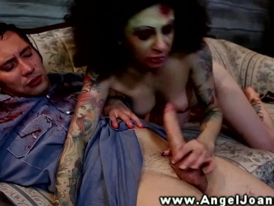 Angel Joanna goes down on dude on couch
