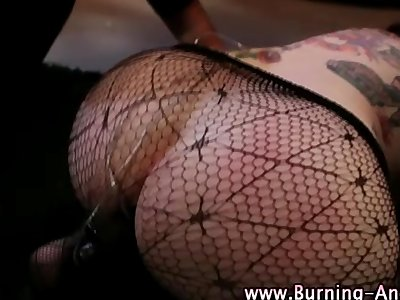 Emo fetish naughty slut gets anal beads
