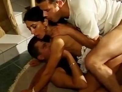 Arab beauty threesome gets fuck in both holes
