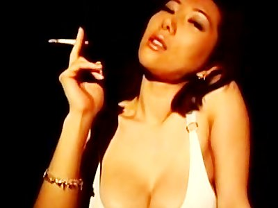 Sexy Asian porn star smoke
