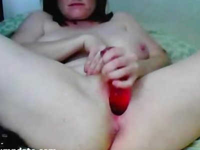 Busty ass and pussy fingering and dildoing MILF